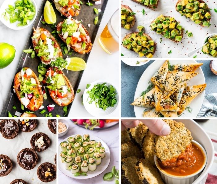 vegan snacks, partygerichte für 10 personen, fingerfoos ideen, schnelle snacks, bruschettas mit avocado, rollen mit fühllung aus bohnen, vegane kekse mit schokolade