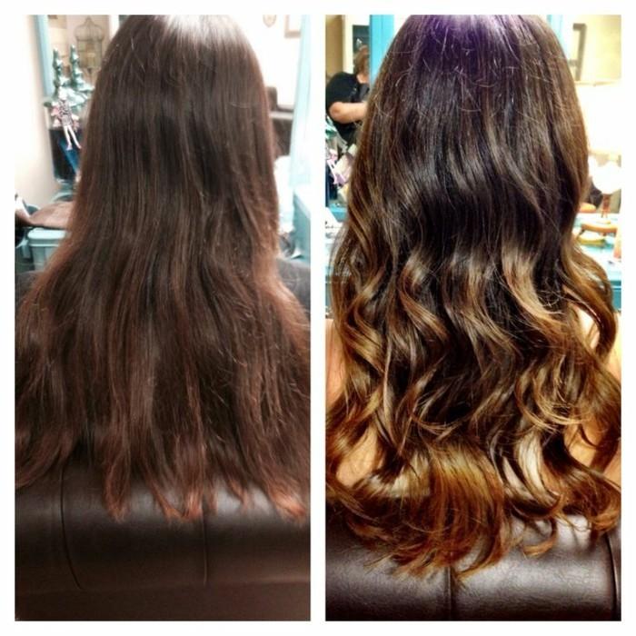 ombre balayage vor und nach dem färben beim frisör, haarstyles zum selber machen
