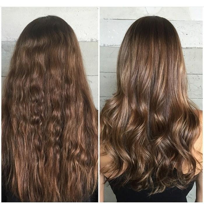 long bob balayage schöne haargestaltung, haarfrisuren von und nach dem besuch beim frisör, braunes haar