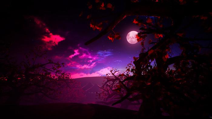 ein violetter himmel mit vielen kleinen weißen sternen und pinken wolken und einem großen pinken vollmond, ein baum mit ästen mit roten blättern