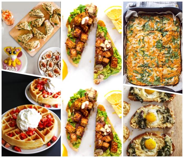 was gehört zum brunch, waffeln mit erdbeeren und sahne, einfache frühstücksideen, toasts mit avocado, kasserolle