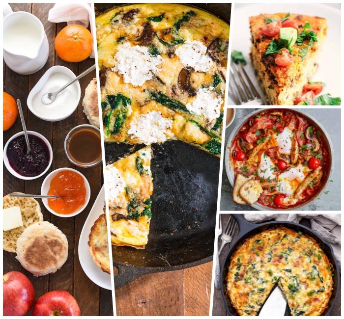 schnelle früstücksrezepte, was gehört zum brunch, fritatte mit eiern, ziegenkäse, pilzen und brokkoli