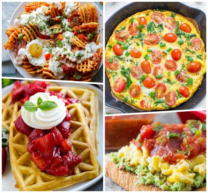 was gehört zum brunch, omelette mit cherry tomaten und spinat, waffeln mit erdbeeren und sahne, toast mit avocado, eiern und tomatensalza
