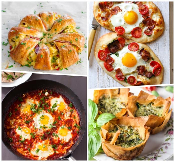 was gehört zum brunch, schnelle und einfache rezepte, mini pizzas mit eiern und cherry tomaten