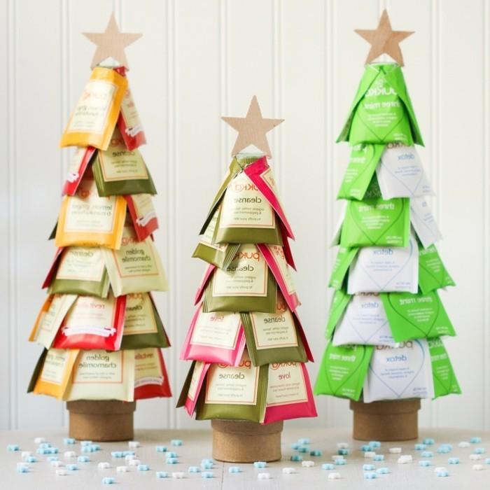 weihnachts oder geburtstagsgeschenke selber machen, kleine weihnachtsbäume aus teebeuteln gemacht, teesorten deko