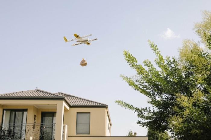ein Haus, ein Baum, eine Drohne von Wing mit einem Päckchen, Wing Drohnen