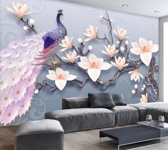 3d fototapete, wohnzimemr einrichten, wohnzimmergestaltung ideen, lila pfau, zweige mit großen rosa blüten