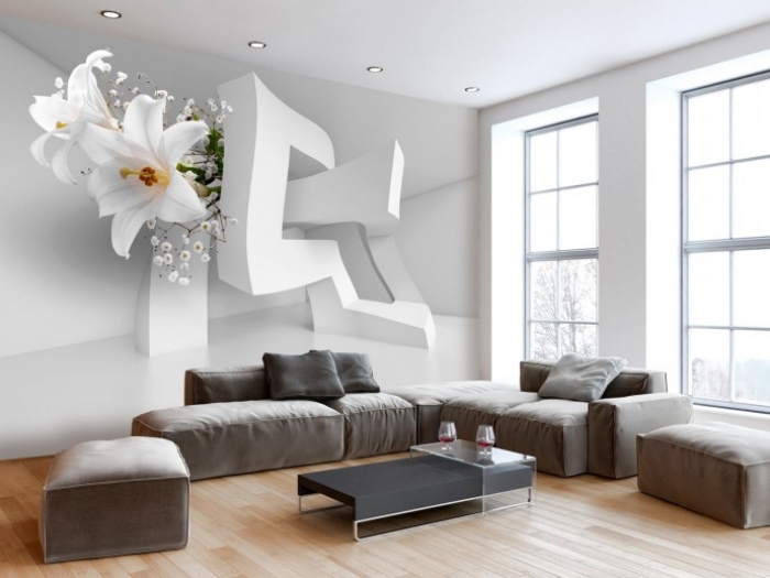 3d fototapete, geometrische elemente und lilien, weiße blumen, wanddeko wohnzimmer ideen, graues sofa, parkett
