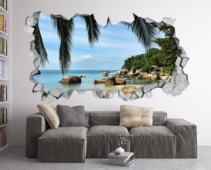 kleine 3d fototapete, zerbrochene wand, graues sofa, wohnzimmer einrichten und dekorieren, 3d tapete