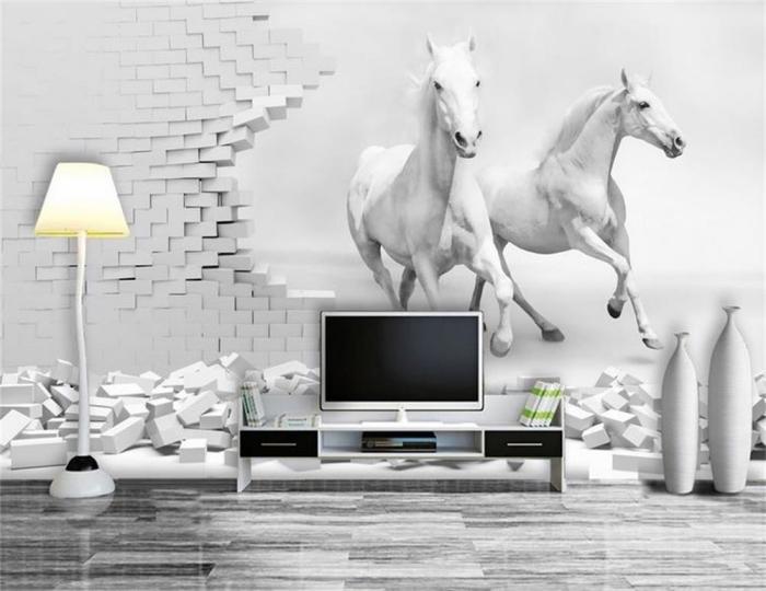 3d fototapete, zwei rennende weiße pferde, hohe lampe, wanddeko wohnzimmer ideen, wohnzimmergestaltung