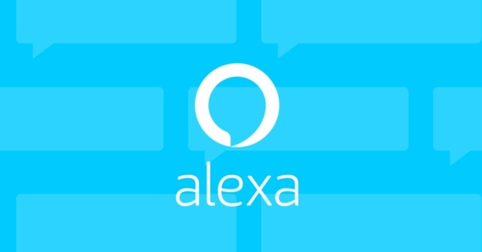 blauer Hintergrund mit dem Logo von Alexa und ihr Name mit weißen Buchstaben geschrieben