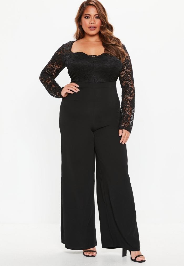 ausgefallene mode für große größen, schwarze hemdhose mit langen ärmeln aus spitze, hohe schuhe