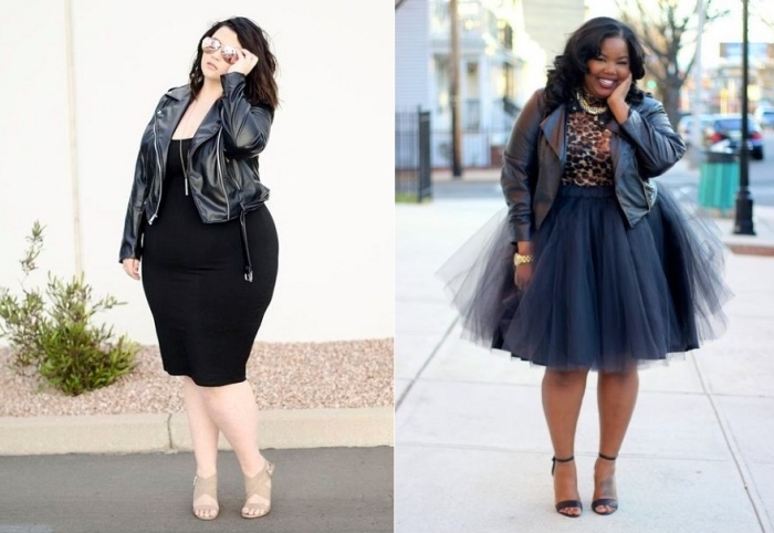 ausgefallene mode für große größen, knielanger rock aus tüll, schwarze lederjacke, abendoutfit für mollige damen