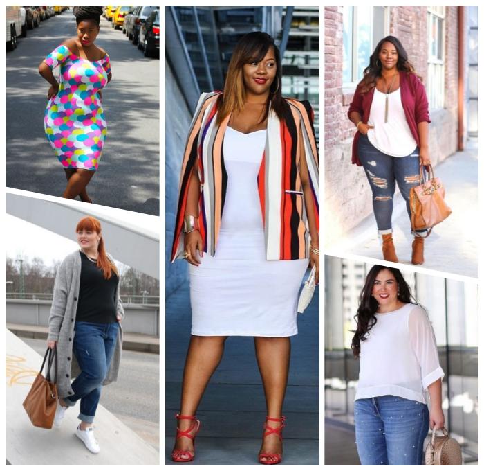 ausgefallene mode für große größen, weißes gerades kleid, gestreifter blazer, weite bluse in komniantion mit jeans