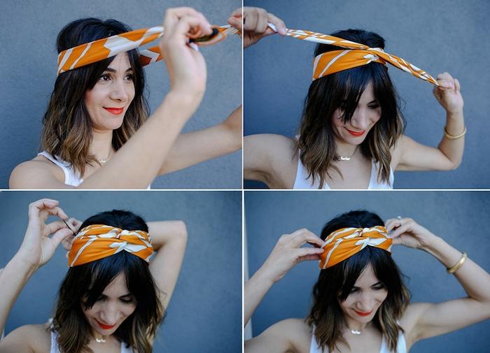 Bandana binden in vier einfachen Schritten, offene mittellange Haare, Haarband binden
