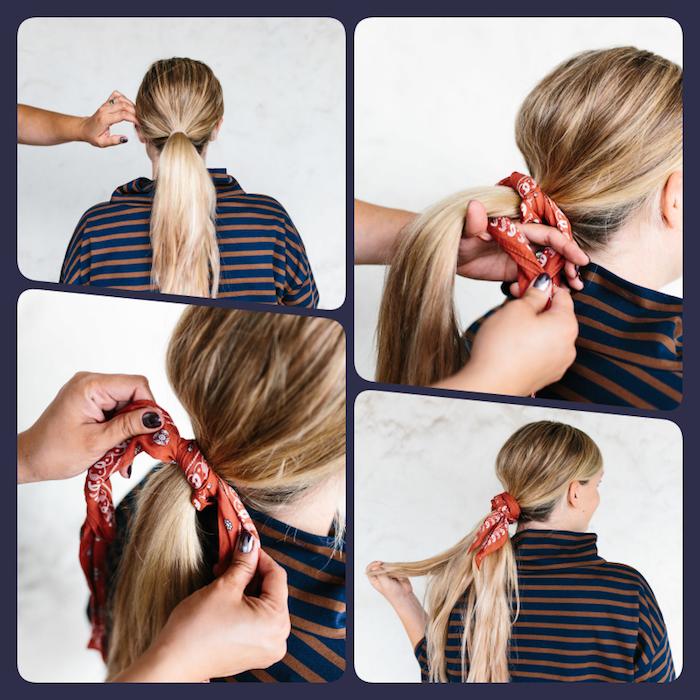 Bandana binden in vier einfachen Schritten, niedrigen Zopf mit Kopftuch binden