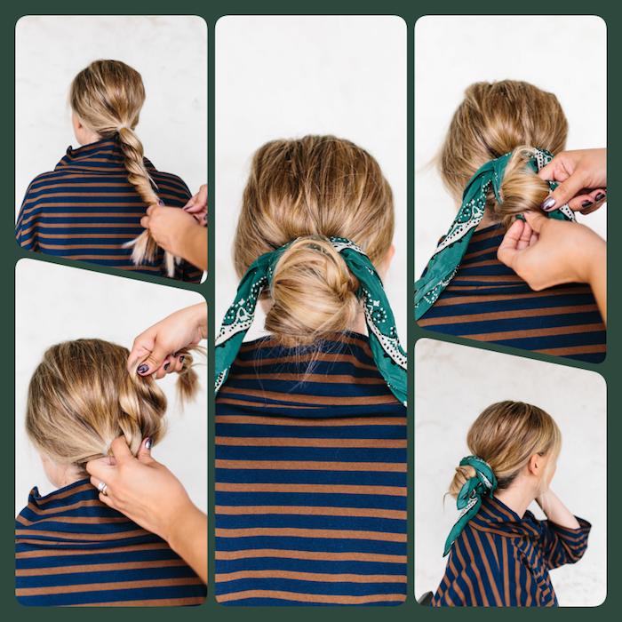 Niedriger Dutt mit grünem Kopftuch, Bandana binden Schritt für Schritt, Haare flechten