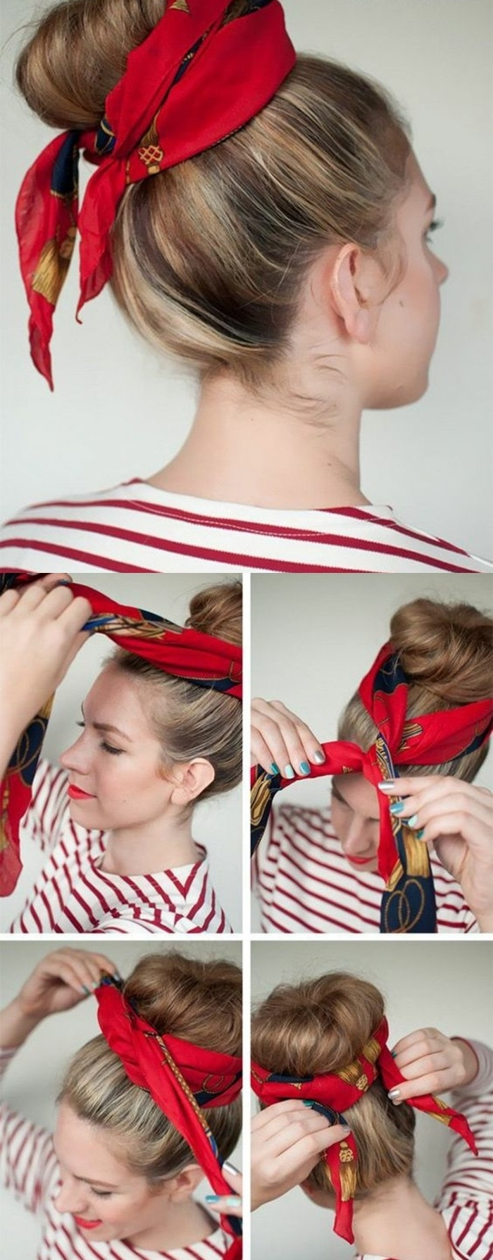 Bandana binden in vier einfachen Schritten, Dutt mit rotem Kopftuch, coole Frisur für den Alltag