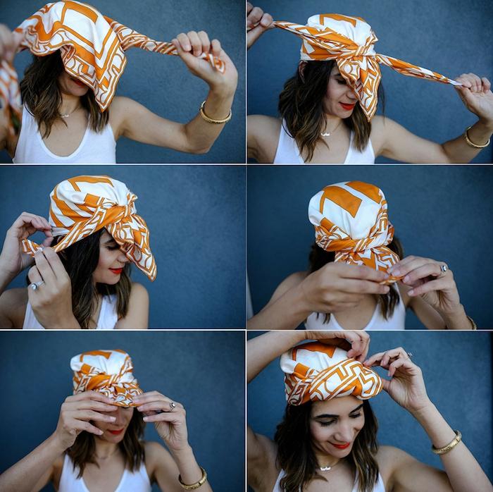 Quadratisches Tuch binden in sechs einfachen Schritten, Bandana binden, offene mittellange Haare