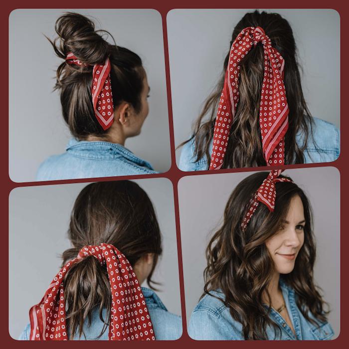 Bandana binden, vier unterschiedliche Varianten, Messy Dutt, offene und halboffene Haare