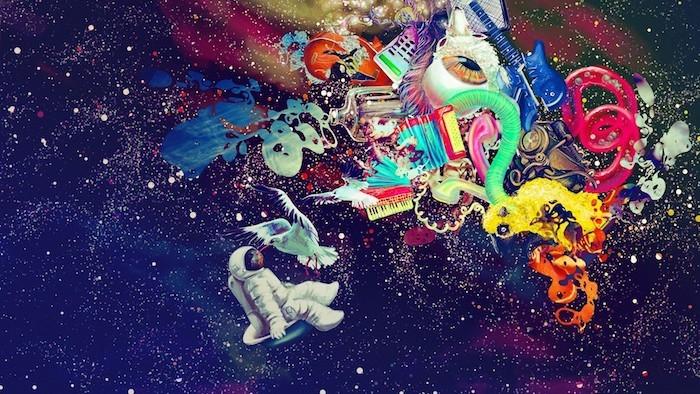 tumblr hintergrund, immer wieder himmel oder kosmos bild mit bunten designs darauf gemalt
