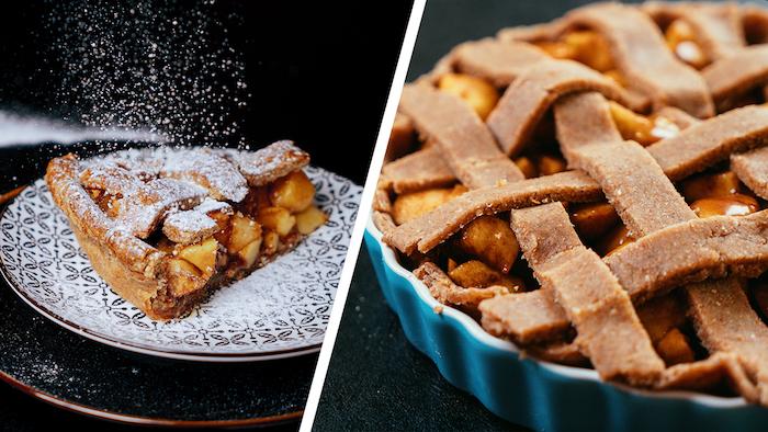 Apfelkuchen backen, mit Puderzucker bestäuben, Nachtisch zu Weihnachten backen