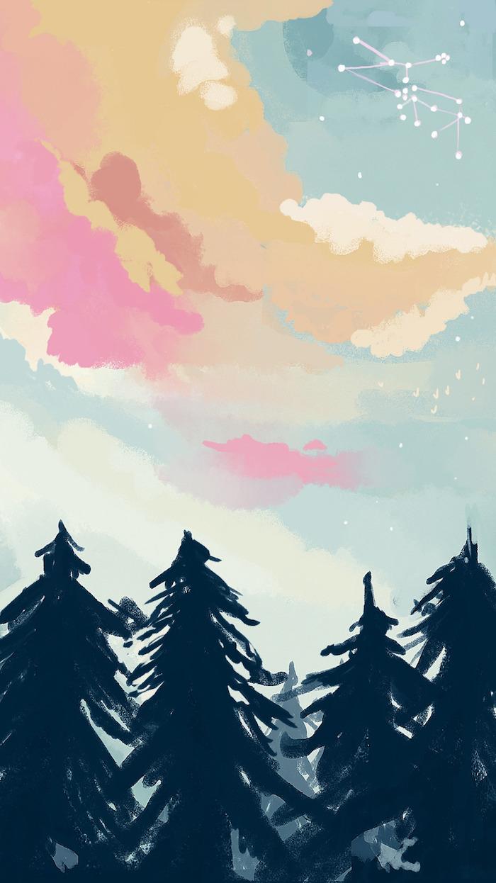 tumblr iphone backgrounds, bild malen, bunter himmel, bäume unten