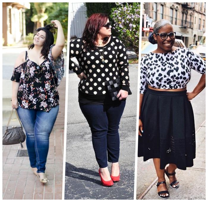 damenmode große großen, jeans in kombiantion mit weiter schwarzer bluse mit floralen motiven
