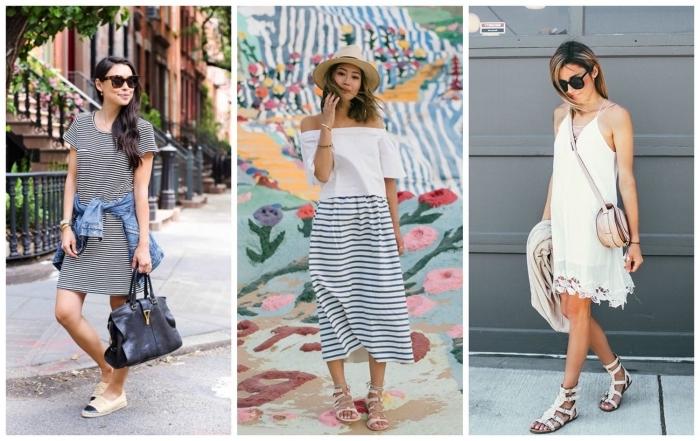 damenmode komplette outfits, gestreiftes kleid in schwarz und weiß, sommeroutfit ideen für frauen, schuhe in griechischem stil