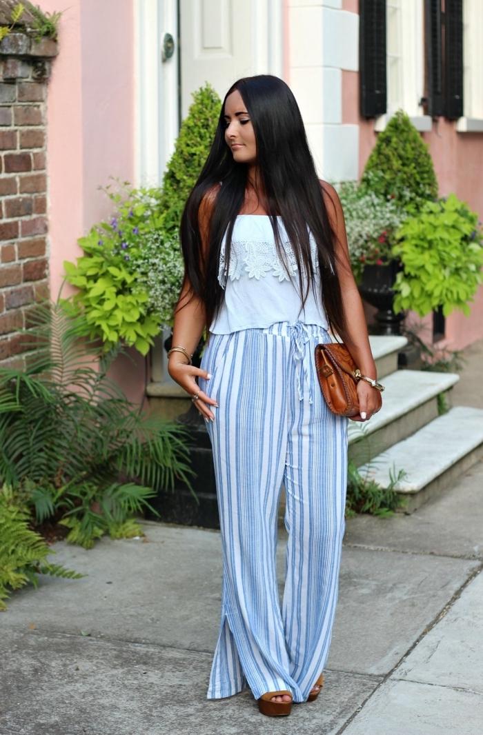 damenmode komplette outfits, lange weite gestreifte hose, blaue bluse, braune tasche