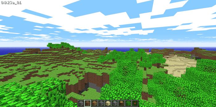 blauer himmel mit weißen wolken, die alte ur-version des spiels minecraft. meer und bäume mit grünen blättern