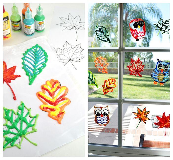 herbstdeko für draußen, fensterdeko selber machen, kleine figuren malen und ankleben