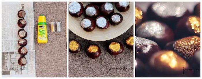 herbstdeko ideen mit kastanien, basteln mit maroni, diy ideen für kinder und erwachsene, goldene und silberne deko