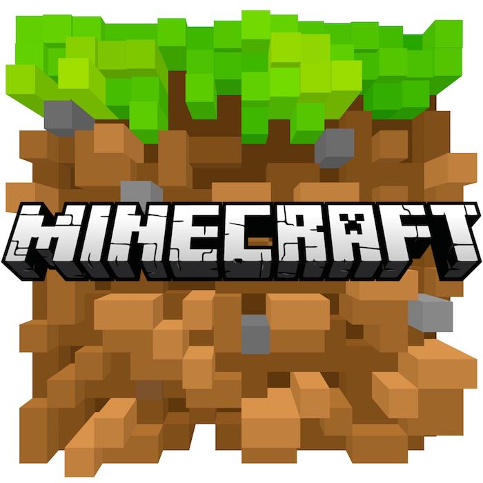 viele kleine braune und grüne blöcke, der logo des spiels minecraft, die ur-version des spiels