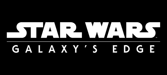 Star Wars Galaxys Edge Logo, den neuen Themenpark von Disneyland, schwarzer Hintergrund, weiße Buchstaben