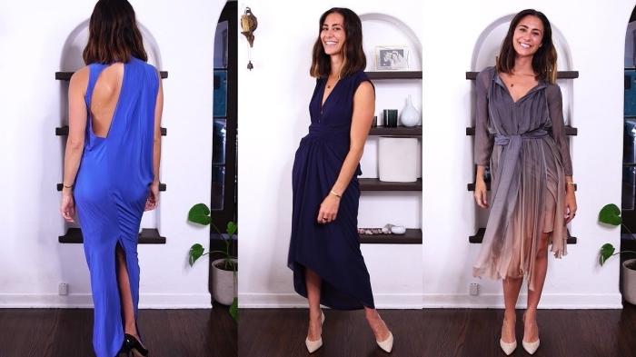 dunkelblaues kleid in griechischem stil, beige spitzschuhe, schulterlange haare, elegante kleid