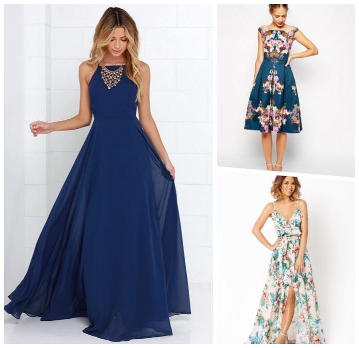 dunkelblaues kleid in kombination mit großer halskette, sommerkleid mit floralen motiven, hochzeitsoitfit