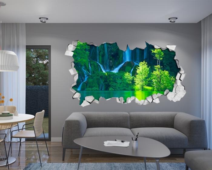 farbige 3d fototapete, kleid zimmer einrichten, see teich mit wasserfall, graues sofa, wanddeko ideen