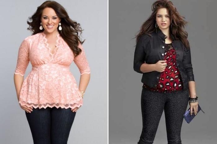 festliche mode für mollige frauen, rosa bluse mit spitze, schwarze jeans kombiniert mit bluse in rot, schwarz und weiß