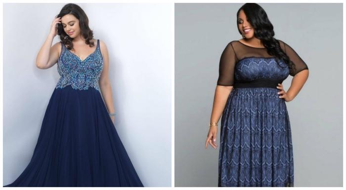 festliche kleider für mollige damen, dunkelblaues abendkleid mit glutzer, abendlook ideen, abendmode große größen