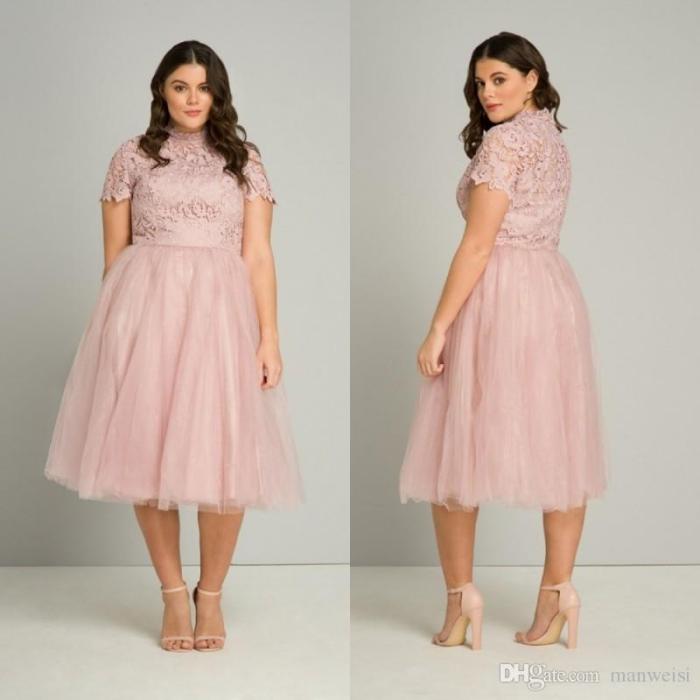 rosa kleid mit rock aus tüll und ärmeln aus spitze, festliche kleider für mollige damen, abendmode für mollige