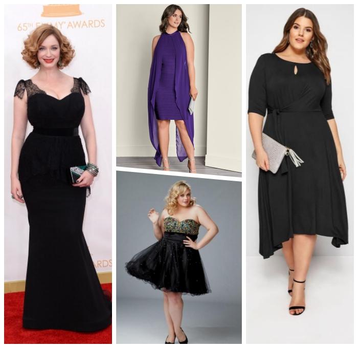 festliche kleider große größen, abendkleider für mollige damen, schwarzes kleid in meerjungfrau schnitt, abendkleider