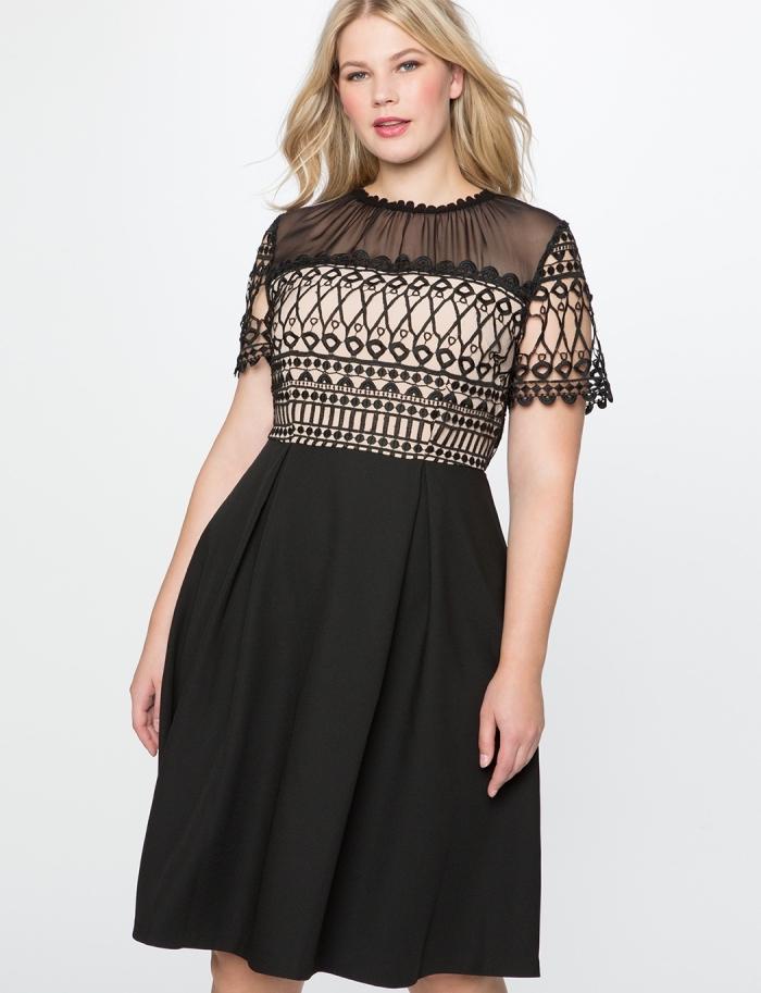festliche kleider große größen, knielanges kleid in schwarz und beige, kurze ärmeln, a linie