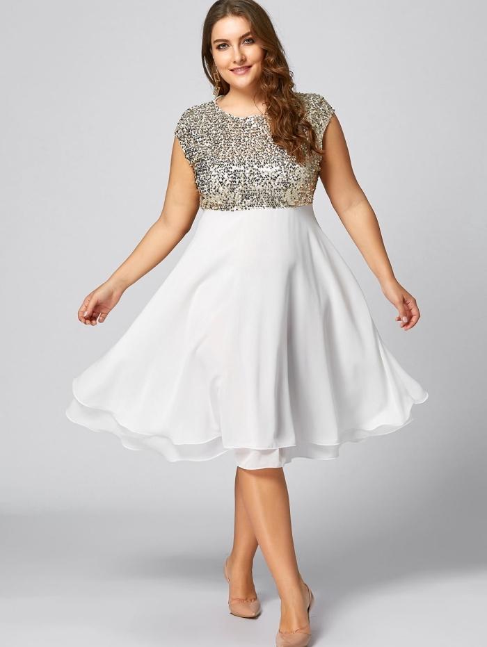 festliche kleider große größen, knielanges weißes kleid glitzer und mit rock aus chiffon