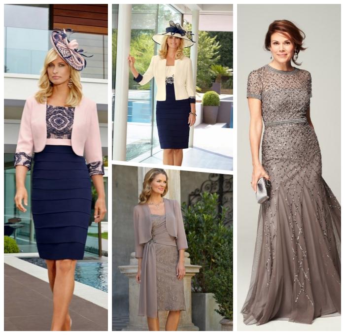 festliche kleider zur hochzeit brautmutter, graues abendkleid mit glitzer, etuikleid in rosa und blau, hut