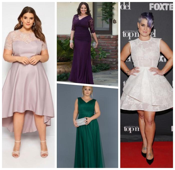 festliche mode für mollige damen, abendkleider große gräßen, lila kleid mit spitze, abendmode