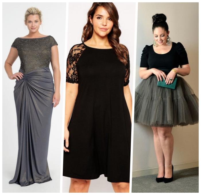 festliche mode für mollige damen, graues kleid in griechischem stil, schwarzes kleid in a linie, rock aus tüll