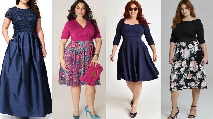 festliche mode für mollige damen, rosa kleid, rock mit flolaren motiven, abendkleid für mollige damen