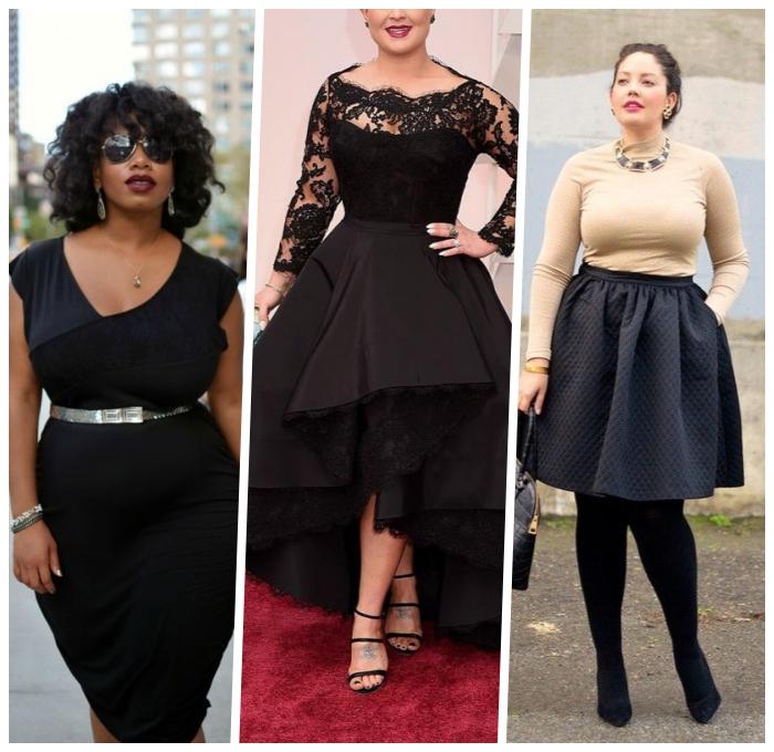 festliche mode für mollige damen, schwarzes kleid kombiniert mit silbernem gürtel, schwarzer rock in komniantion mit beiger bluse