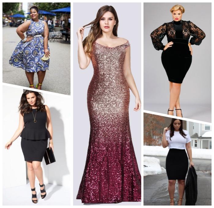 festliche motive für mollige damen, abendkleid mit glitzer, ombe look, schwarzes kleid mit weiten ärmeln aus spitze